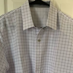 Excellent condition light gray/black button up.